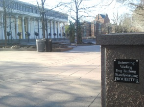 A very specific sign outside the Woodrow Wilson School, Princeton.